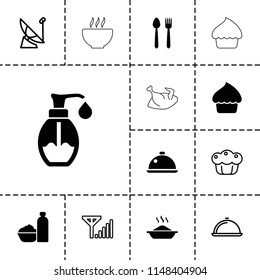 Dish icon. collection of 13 dish filled and outline icons such as soap, satellite, pie, mobile signal, soup. editable dish icons for web and mobile.