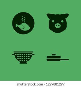 dish icon. dish vector icons set hot chicken, colander, piggy face and pan