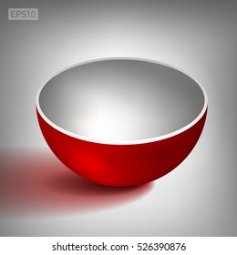 Dish outside red, inside white. Volume half of a hollow sphere, open ball. Vector abstract object for you project design
