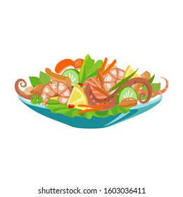 Dish of seafood vector icon.Cartoon vector icon isolated on white background dish of seafood .