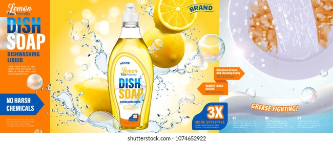 Dish soap ads, lemon dishwashing liquid with grease fighting effect, splashing water and half cleaning dish in 3d illustration