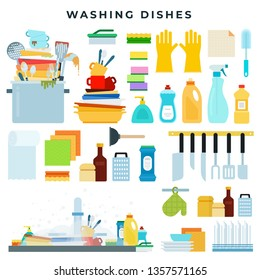 Dish washing equipment, dirty and clean dishes, kitchen utensils, dinnerware in sink, detergents, sponge, towel, gloves, brush. Set of flat style vector elements, household concept illustration.