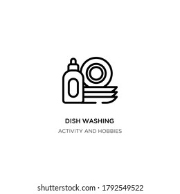 dish washing vector line icon. Simple element illustration. dish washing outline icon from activity and hobbies concept. Can be used for web and mobile
