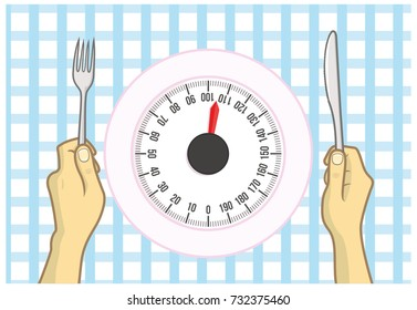 Dish and weight control. Dish as a balance representing diet and weight control.
