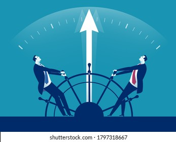 Disharmony. Conflict about who is the leader. A managers trying change direction of business. Business vector illustration