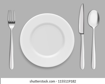 Dishes and cutlery. Fork, spoon and knife. Vector tableware cutlery, lunch dinner flatware illustration