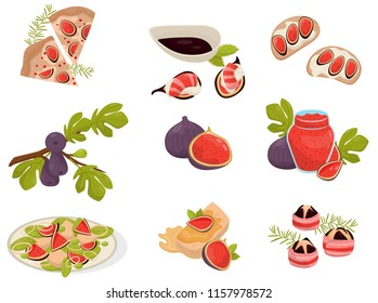 Dishes with fig fruits set, pizza, sandwich, canapé, glass of jam, capcake vector Illustrations on a white background