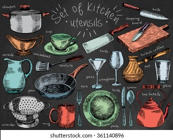 dishes, kitchen utensils, plate, bowl, pan, colander, mug, fork, spoon, soup ladle, spatula, carafe, martini glass, glass, knife, turkish coffee pot, chopping board,  tea kettle, tableware