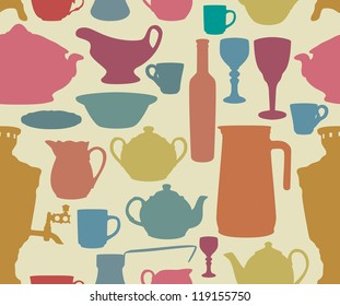 Dishes silhouettes on yellow background in retro style