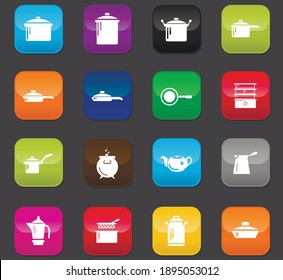 Dishes symbol for web icons. Colored buttons on a dark background