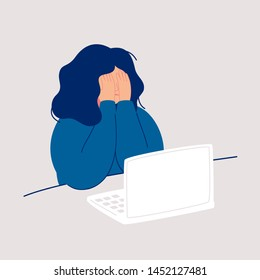 Disheveled woman sits at the computer and crying covering her face with her hands. Weeping woman emotions grief. Concept of solitude and loneliness.  Cartoon vector illustration in flat style