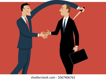 Dishonest businessman shaking hands with a person, stabbing him in a back with another hand, EPS 8 vector illustration