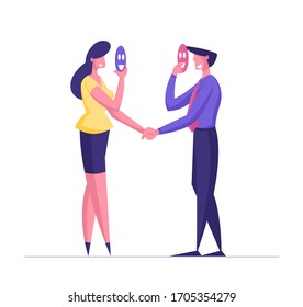 Dishonest Cheating Agreement, Faking and Betray Business Partnership Concept. Businessman and Businesswoman Characters Holding Mask Hiding Face and Shaking Hands. Cartoon People Vector Illustration