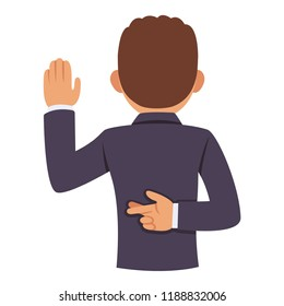 Dishonest politician or business man raising hand in oath, other hand with crossed fingers behind back. Lying and corruption vector clip art illustration.