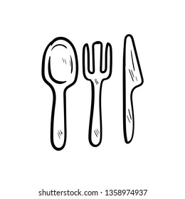 dishware doodle icon vector