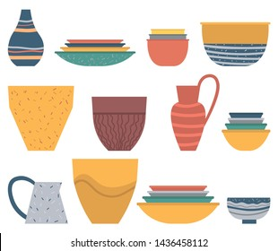 Dishware set, colorful plate and bowl, ceramic vase and jar on white. Rustic or homemade pot and soup plate, handicraft souvenir, earthenware crock vector