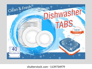 Dishwasher detergent tabs. Realistic illustration with plates in water splash and bubbles. Dish wash advertisement poster layout. Vector illustration.