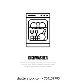 Dishwasher flat line icon. Household appliances sign. Vector illustration of house equipment store or plumbing service.