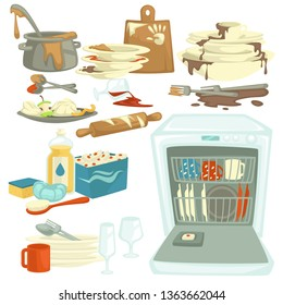 Dishwasher and food remains dirty and clean dishes detergent vector fat stains and saucepan cutting board and plates spoons and forks glass and rolling pin electric kitchen appliance brush and sponge.
