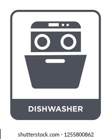 dishwasher icon vector on white background, dishwasher trendy filled icons from Kitchen collection, dishwasher simple element illustration