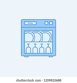 Dishwasher line 2 colored line icon. Simple blue and white element illustration. Dishwasher line concept outline symbol design from kitchen set