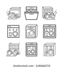Dishwasher line icons set. Cleaning dishes symbol. Vector signs for web graphic.