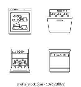 Dishwasher machine kitchen icons set. Outline illustration of 4 dishwasher machine kitchen vector icons for web