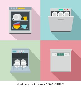 Dishwasher machine kitchen icons set. Flat illustration of 4 dishwasher machine kitchen vector icons for web
