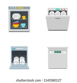 Dishwasher machine kitchen icons set. Flat illustration of 4 dishwasher machine kitchen vector icons isolated on white