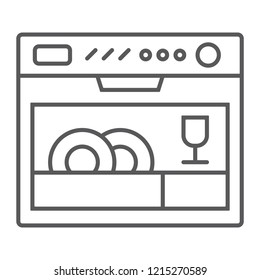 Dishwasher thin line icon, appliance and kitchen, household sign, vector graphics, a linear pattern on a white background, eps 10.