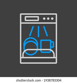 Dishwasher vector icon. Electric kitchen appliance. Graph symbol for cooking web site design, logo, app, UI