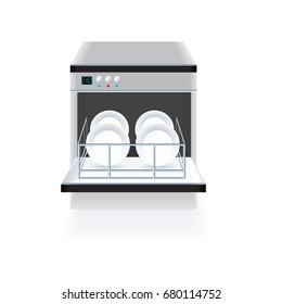 Dishwasher vector on white background. Dishwasher machine