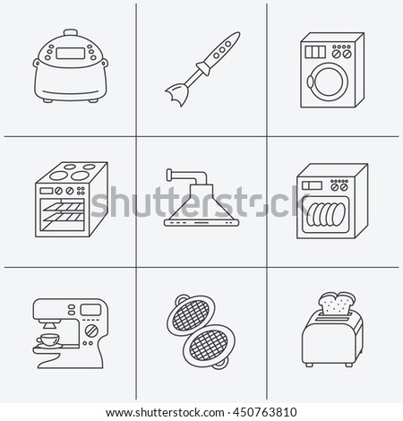 Dishwasher Washing Machine Blender Icons Kitchen Stock Vector