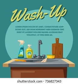 Dishwashing and cleaning with soap sink and sponge. Cartoon vector illustration