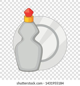 Dishwashing liquid bottle and plate icon. Cartoon illustration of dishwashing liquid bottle and plate vector icon for web