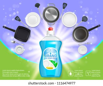 Dishwashing liquid products advertising poster. Vector realistic illustration of dish detergent brand bottle design template and clean plates, cups, cutlery and cooking utensils.