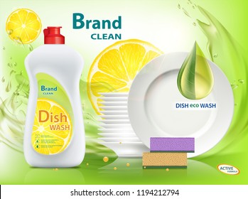 Dishwashing liquid soap with lemon. Packaging with template label design. Stock vector illustration.