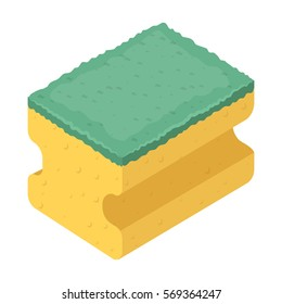 Dishwashing sponge icon in cartoon style isolated on white background. Cleaning symbol stock vector illustration.
