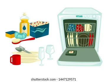 Dishwasing clean dishes and cleaning tools or detergent vector housework brush and sponge dishwasher plates pile spoon and fork glasses and cup dishware or glassware and chemical means household.
