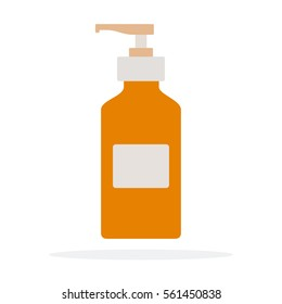 Disinfectant dispenser with hands vector flat material design object. Isolated illustration on white background.