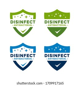 Disinfectant Logo Vector. Antibacterial logo design. Drop and shield vector design for poster, banner, flyer.