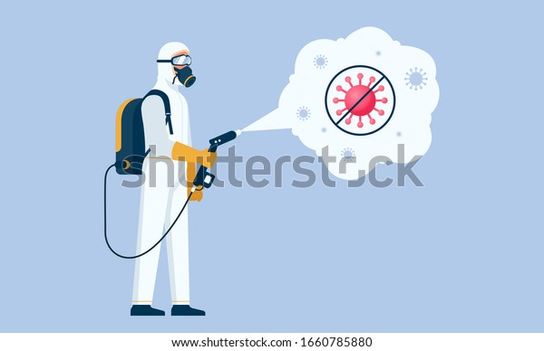 Disinfectant worker wear protective mask and suit sprays coronavirus or covid-19