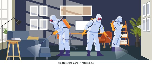 Disinfecting anti Coronavirus in business office as a prevention against Coronavirus or COVID-19 pandemic. Cartoon, flat style Vector Illustration.