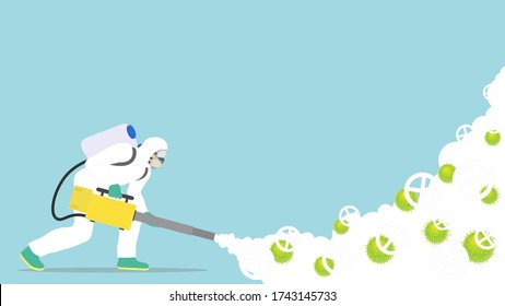 Disinfection cleaning service, A worker who wears a protective mask and suit is killing virus disease by his fogging machine. Vector illustration.