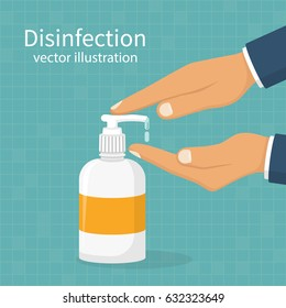 Disinfection concept. Liquid soap with pumping from bottle. Applying a moisturizing sanitizer. Man washing hands. Vector illustration flat design. Isolated on blue background. Place for text, template