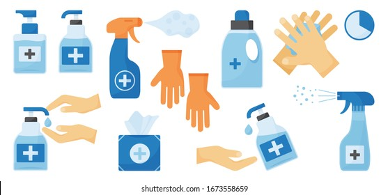 Disinfection. Hand hygiene. Set of hand sanitizer bottles, washing gel, spray, wet wipes, liquid soap, rubber gloves, napkins. PPE personal protective equipment. Vector illustration