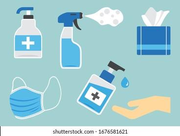 Disinfection. Hygiene. Set of sanitizer bottles, washing gel, spray, wet wipes, liquid soap, medical mask, napkins. PPE personal protective equipment. Vector illustration