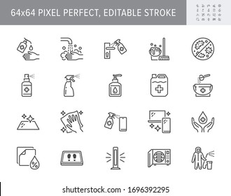 Disinfection line icons. Vector illustration included icons such as spray bottle, floor cleaning mop, wash hand gel, autoclave uv lamp outline pictogram for housekeeping 64x64 Pixel Perfect Editable Stroke