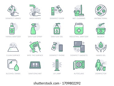 Disinfection line icons. Vector illustration included icon as spray bottle, floor cleaning mop, wash hand gel, autoclave uv lamp outline pictogram for housekeeping Green Color, Editable Stroke