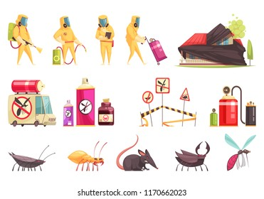 Disinfection pest control set of flat isolated images with insects decontamination equipment items and disinfector characters vector illustration